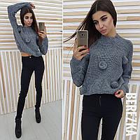 """Вязаный женский свитер """"Бубон"""", серый"""