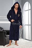 NS-2955 Мужской халат Nusa бамбуковый темно-синего цвета