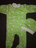 Набор комплект для новорожденного комбинезон и шапочка с начесом в роддом на выписку, фото 1