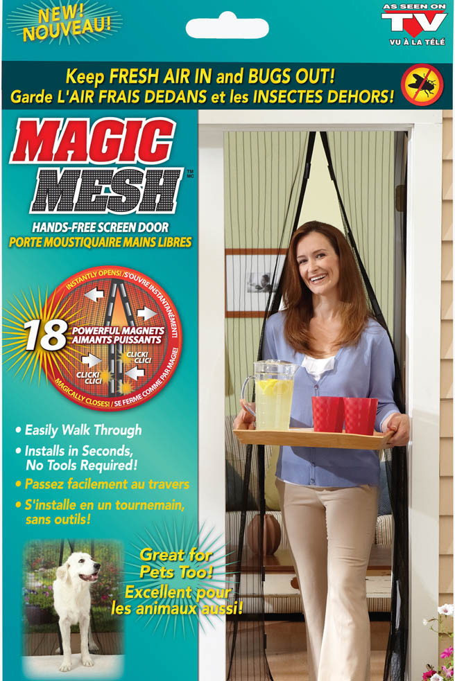Дверная антимоскитная сетка Magic Mesh на магнитах Черная (1000030)