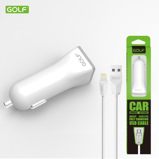 Автомобильное зарядное устройство Golf GF-C1L + кабель Lightning для iPhone 5/6/7 1A