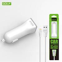 Автомобильное зарядное устройство Golf GF-C1L + кабель Lightning для iPhone 5/6/7 1A, фото 1