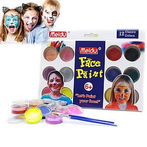 Краски для лица и тела (12 цветов+2 кисточки+губка) 4296-12-1109, фото 2