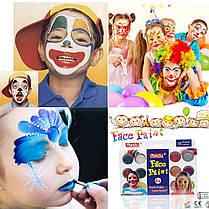 Краски для лица и тела (12 цветов+2 кисточки+губка) 4296-12-1109, фото 3