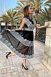Прозоре плаття чорного кольору з мереживом, фото 3