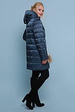 Женская зимняя куртка-пуховик удлиненная цвет-волны размеры: s,m,l,xl, фото 3