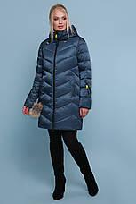 Женская зимняя куртка-пуховик удлиненная цвет-волны размеры: s,m,l,xl, фото 2