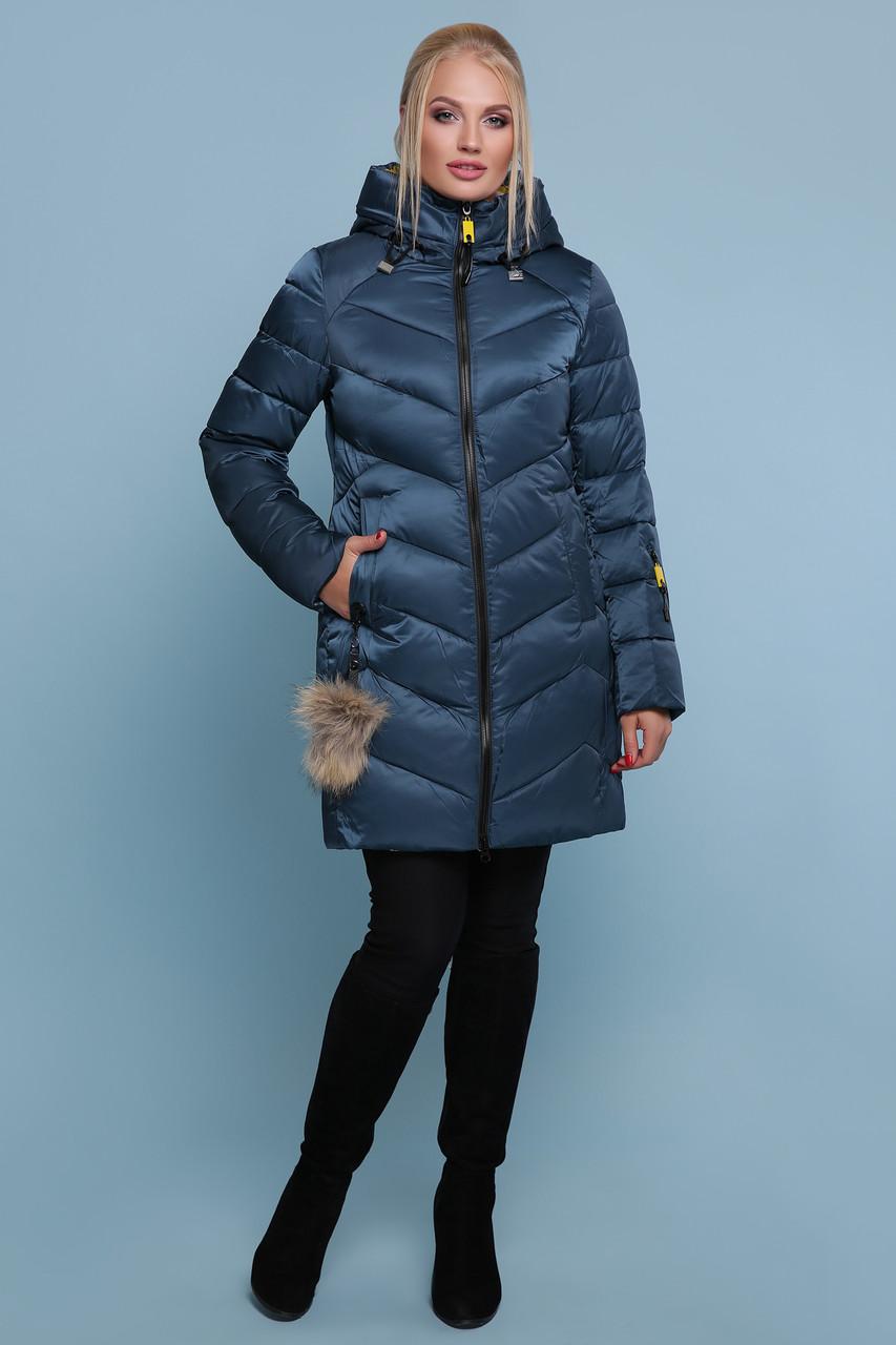 Женская зимняя куртка-пуховик удлиненная цвет-волны размеры: s,m,l,xl