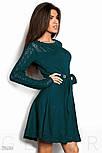 Расклешенное женское платье изумрудного цвета, фото 2