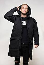"Куртка зимняя мужская DarkSide ""All Black"" длинная. Живое фото"