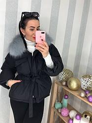 Красивая теплая женская куртка с мехом плащевка молочная, белая