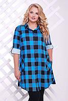 Платье-рубашка в клетку ЛОРЕНС голубая, фото 1