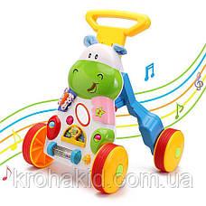 Каталка-ходунки Бегемотик SL83570 з регульованою ручкою - дитячий музичний центр, фото 3