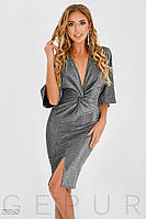 Вечірня сукня-кімоно з глибоким v-подібним драпіруванням сріблястий вирізом розмір  44 46 48 3b260b689cf80