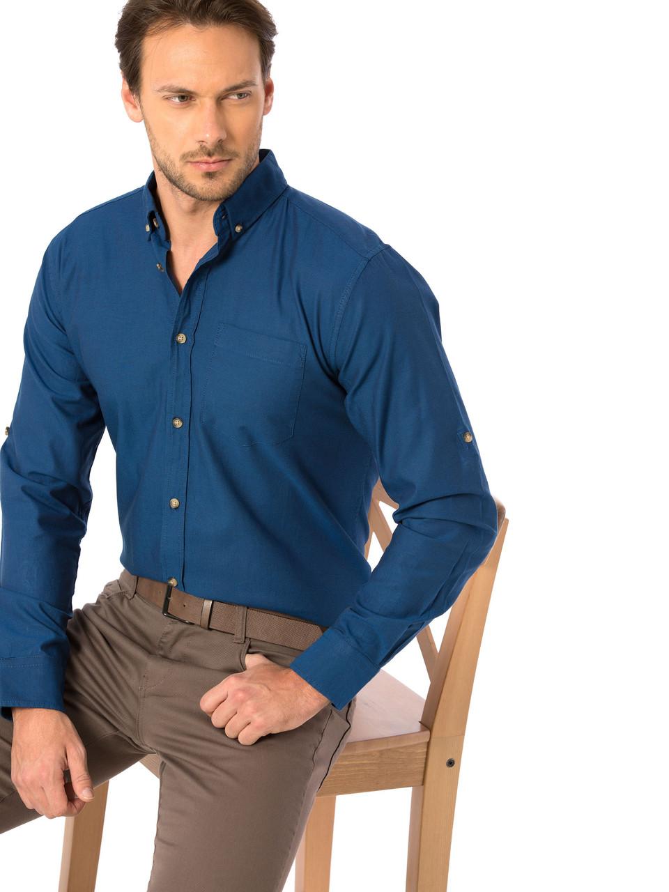 Синяя мужская рубашка LC Waikiki / ЛС Вайкики с пуговицами цвета слоновой кости