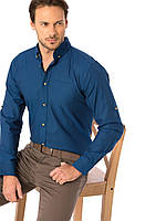 Синяя мужская рубашка LC Waikiki / ЛС Вайкики с пуговицами цвета слоновой кости, фото 1