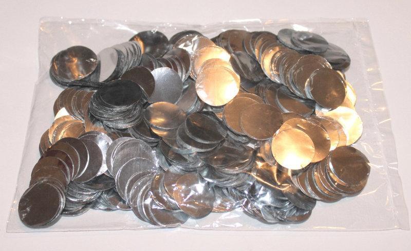 Конфетті кружечки срібло 23 мм , 25 гр