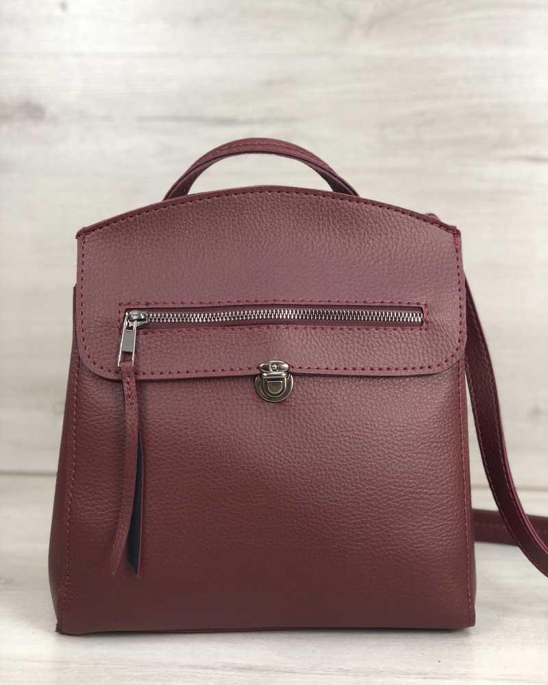 2ea8c3402b57 Молодежная бордовая сумка-рюкзак 45027 женская трансформер через плечо