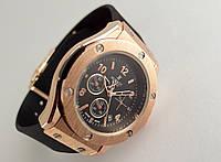 Женкские часы HUBLOT - Big Bang каучуковый черный ремешок, цвет золото, черный циферблат, фото 1