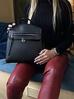 Молодежная черная сумка-рюкзак 45024 женская трансформер через плечо