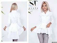 Блузка-рубашка с воланом фасона «Каскад»