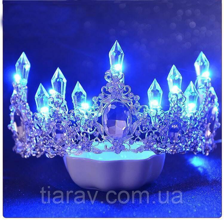 Диадема и серьги, набор СНЕЖНАЯ КОРОЛЕВА, светящаяся корона для волос