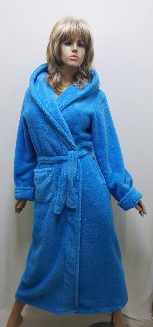 Халат женский махровый длинный на запах под пояс, размеры от 44 до 58