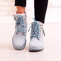 Зимние ботинки нежно - голубого цвета на низком ходу 36, 37, 38, 39 размер