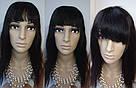 Натуральный чёрный парик на сетке с чёлекой. Имитация роста волос., фото 2