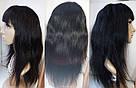 Натуральный чёрный парик на сетке с чёлекой. Имитация роста волос., фото 6
