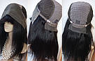Натуральный чёрный парик на сетке с чёлекой. Имитация роста волос., фото 7