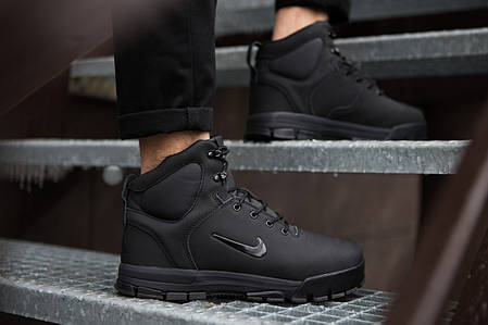 Мужские кроссовки на меху Nike черные топ реплика, фото 2