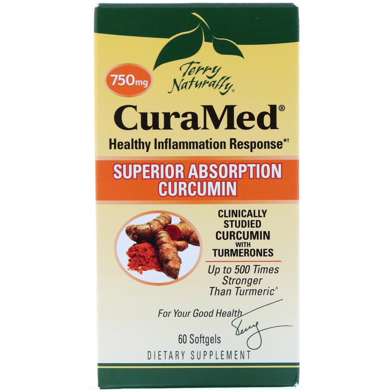 EuroPharma, Terry Naturally, CuraMed, 750 mg, 60 Softgels