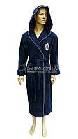 Мужской халат Nusa махровый темно-синего цвета NS-2970
