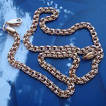 Серебряная позолоченная цепочка, 550мм, 27 грамм, плетение Бисмарк, фото 2
