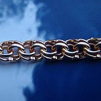 Серебряная позолоченная цепочка, 550мм, 27 грамм, плетение Бисмарк, фото 3