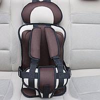 Портативное бескаркасное детское автокресло (коричневое с бежевым), фото 1