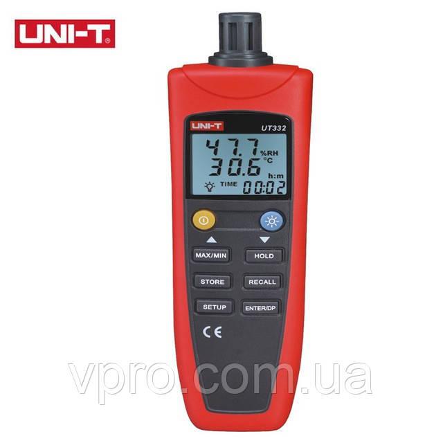 Термогигрометр UNI-T UT332 (Т: от -20 °С до 60 °С: RH:от 0 % до 100 %), USB-интерфейс, точка росы