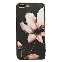 Чехол накладка на iPhone 7/8 черный с цветком магнолии, плотный силикон