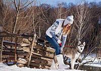 Женские зимние сапоги Хаски, белоснежные и теплые - 40с