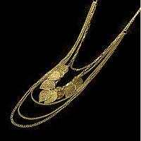 """Многослойное ожерелье """"Цепи и листья"""" золотое"""