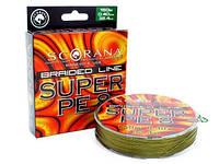 Шнур Scorana Super PE 8 150м 0,25мм 14,5кг green