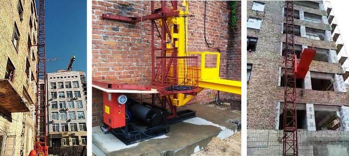 Высота подъёма Н-77 метров. Строительные мачтовые грузовые подъёмники ПМГ г/п 1000кг, 1 тонна.