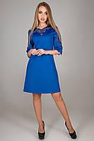 Платье трапеция Диколь с перфорацией трикотаж джерси с ажурными вставками 44-52 размер электрик