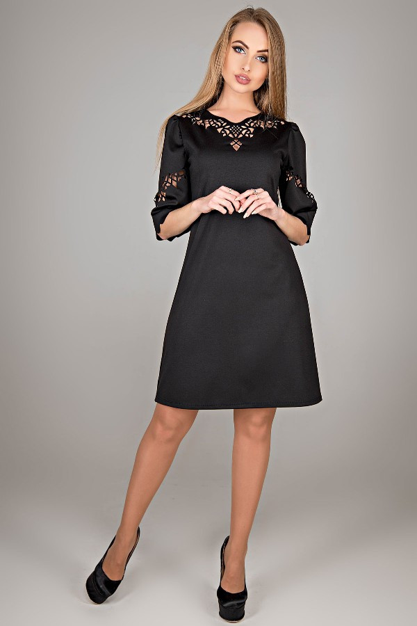 7b956a0d02a Платье трапеция Диколь с перфорацией трикотаж джерси с ажурными вставками  44-52 размер черное -