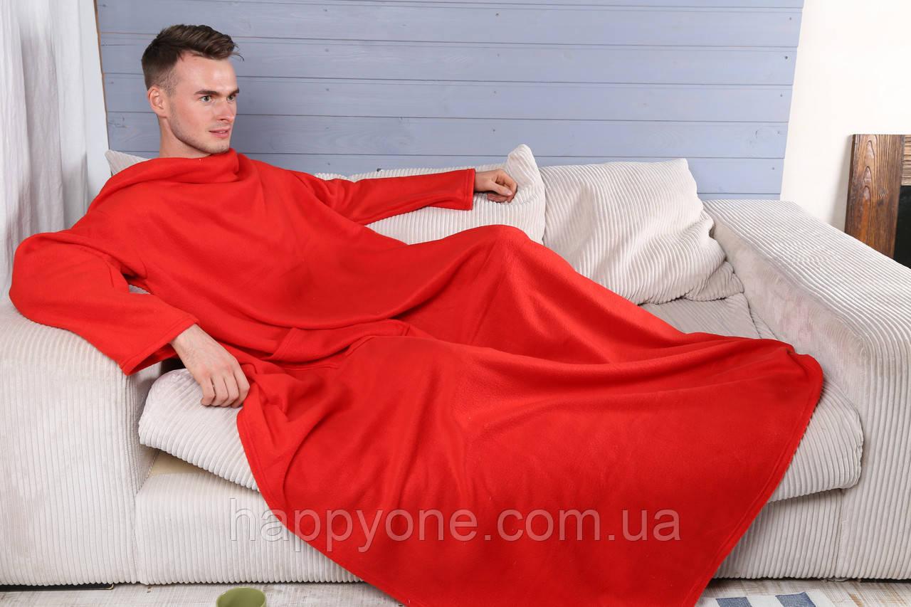 Плед с рукавами флисовый (красный)