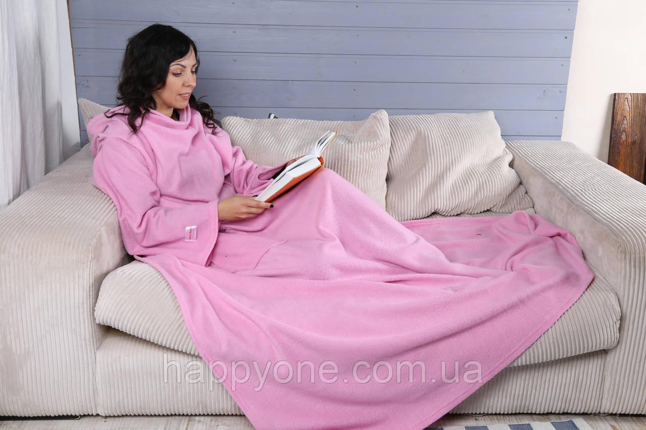 Плед с рукавами флисовый (розовый)