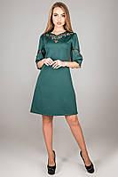 Сукня трапеція Діколь з перфорацією трикотаж джерсі з ажурними вставками 44-52 розмір зелене, фото 1