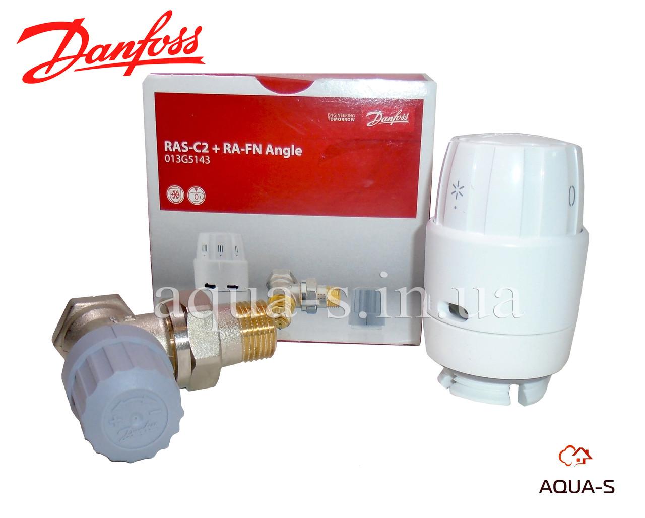 Клапан с термоголовкой Danfoss RAS-C2 1/2'' угловой для радиаторов (013G5143)