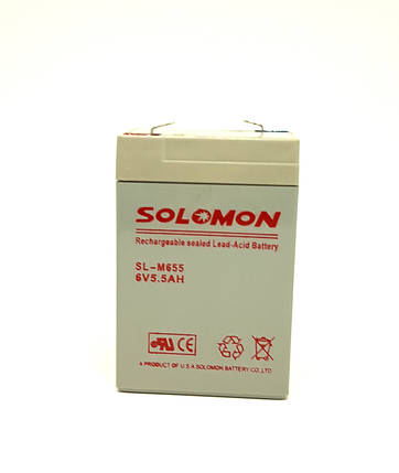 Аккумулятор Solomon 6V 5.5Ah, фото 2